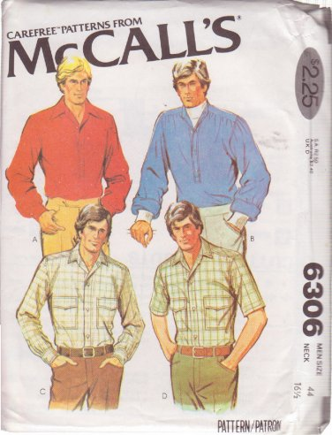 McCALL'S PATTERN 6306 MEN'S SHIRT IN 4 VARIATIONS SIZE 44 UNCUT