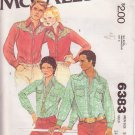 McCALL'S PATTERN 6383 SIZE 36 MEN'S WESTERN SHIRT IN 2 VARIATIONS UNCUT