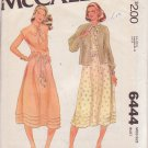 McCALL'S PATTERN 6444 MISSES' DRESS AND UNLINED JACKET SIZE 14