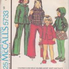 McCALL'S VINTAGE PATTERN 5733 SIZE 6 GIRLS' UNLINED JACKET HOOD SKIRT PANTS