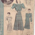 HOLLYWOOD PATTERN 1713 MISSES' 2 PIECE FROCK 3 VERSIONS SIZE 20 ANN SHERIDAN