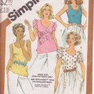 SIMPLICITY 5510 VINTAGE PATTERN MISSES' ONE YARD TOPS 4 VARIATIONS SIZE 10