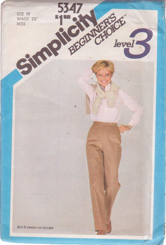 SIMPLICITY 5347 VINTAGE PATTERN MISSES' SIZE 10 STRAIGHT LEG PANTS