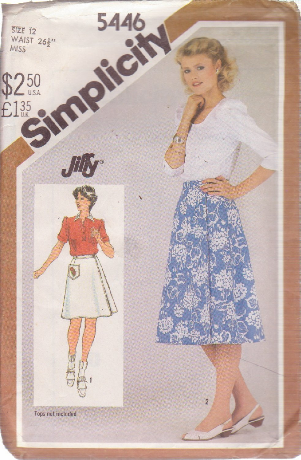 SIMPLICITY 5446 PATTERN MISSES' REVERSIBLE WRAP SKIRT SIZE 12