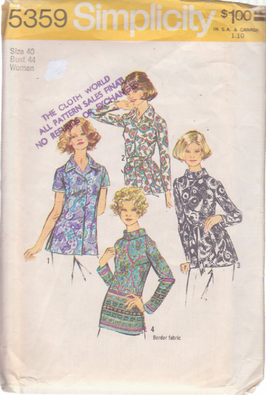SIMPLICITY 5359 VINTAGE PATTERN MISSES' BLOUSES IN 4 VARIATIONS SIZE 40