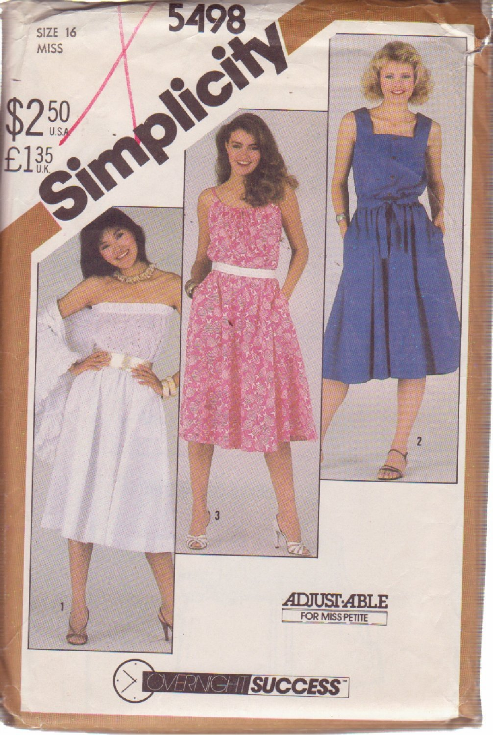 SIMPLICITY 5498 VINTAGE PATTERN MISSES' SUNDRESS IN 3 VARIATIONS, SHAWL SIZE 16