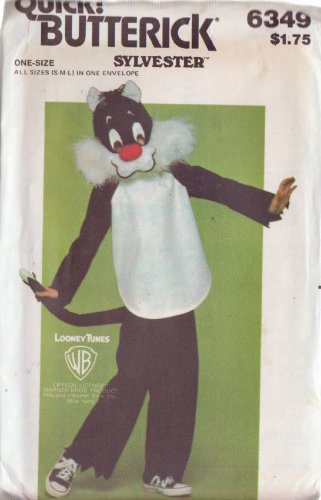 BUTTERICK PATTERN 6349 CHILDREN'S COSTUME SYLVESTER THE CAT SIZES S, M, L UNCUT
