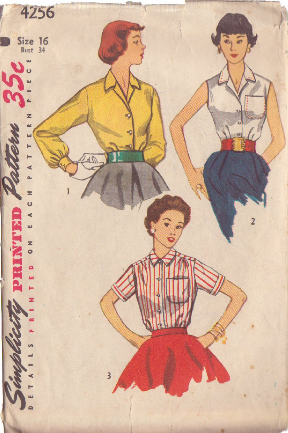 SIMPLICITY PATTERN 4256 MISSES' BLOUSE IN 3 VARIATIONS SIZE 16