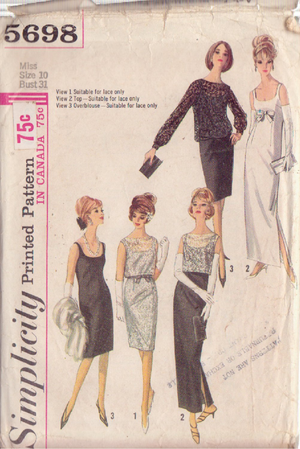SIMPLICITY VINTAGE PATTERN 5698 MISSES' EVENING, COCKTAIL DRESS WITH OVERBLOUSE AND TOP SIZE 10