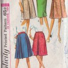 SIMPLICITY VINTAGE PATTERN 5884 MISSES' SKIRTS IN 5 VARIATIONS SIZE WASIT 28
