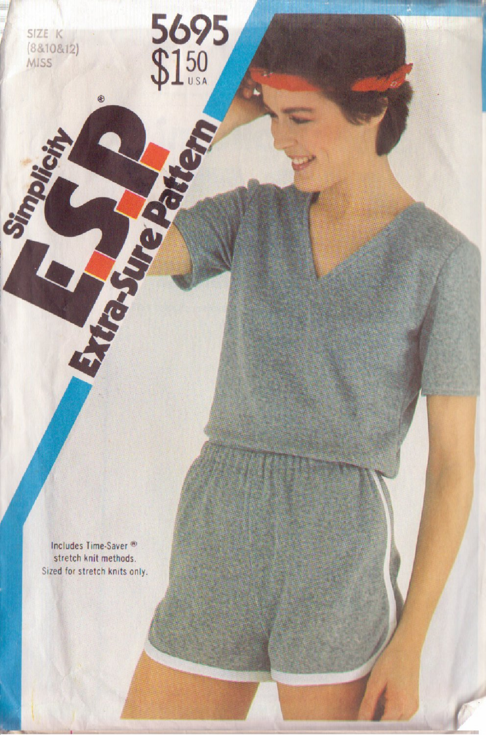 SIMPLICITY VINTAGE PATTERN 5695 MISSES' PULLOVER TOP, PULL ON SHORTS SZS 8/10/12
