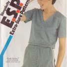 SIMPLICITY VINTAGE PATTERN 5695 SZS 8/10/12 MISSES' PULLOVER TOP, PULL ON SHORTS