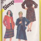 SIMPLICITY VINTAGE PATTERN 5668 MISSES' SKIRT,BLOUSE, CARDIGAN JACKET SIZE 42