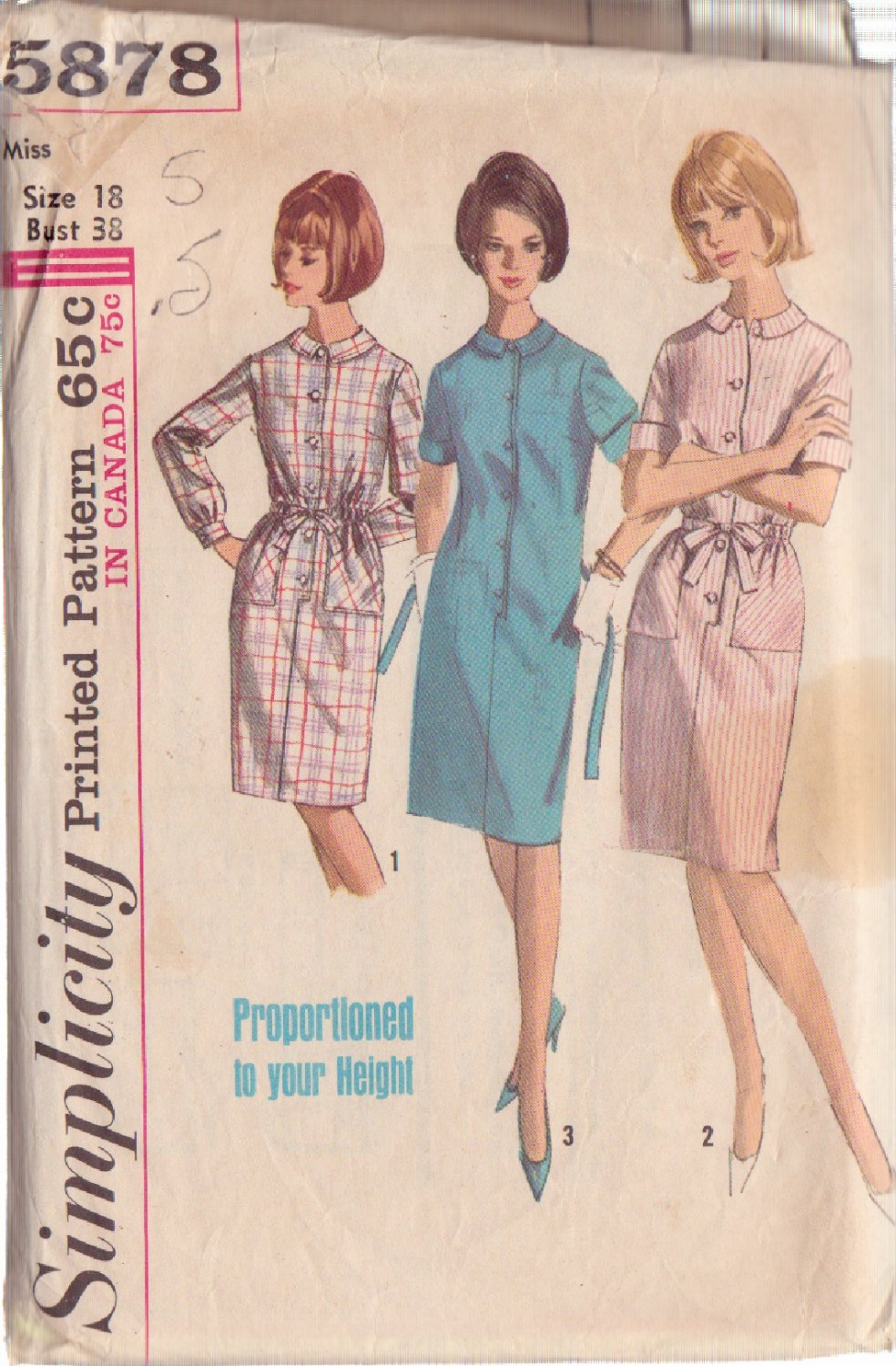SIMPLICITY VINTAGE PATTERN 5878 MISSES' DRESS IN PROPORTIONED SIZES SIZE 18