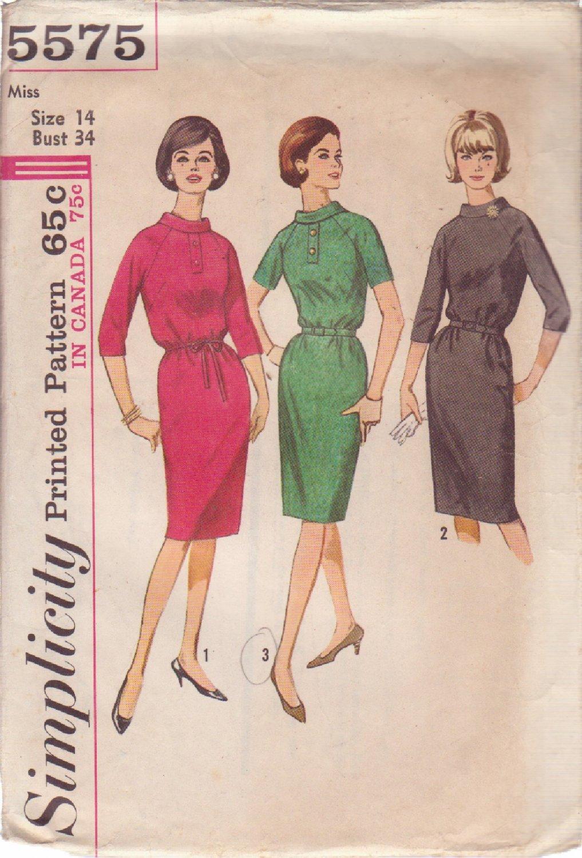 SIMPLICITY 5575 VINTAGE PATTERN MISSES' DRESS IN 3 VARIATIONS SIZE 14