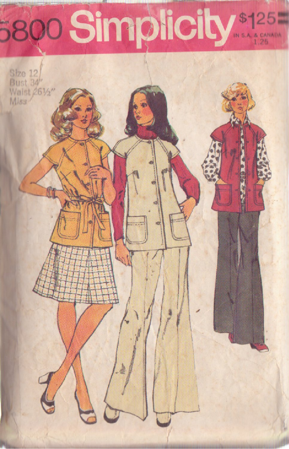 SIMPLICITY VINTAGE PATTERN 5800 SIZE 12 MISSES' VEST SKIRT AND PANTS