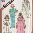 SIMPLICITY PATTERN 5747 SIZE 2 TODDLERS' NIGHTGOWN, PAJAMAS, ROBE AND HAT
