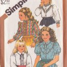 SIMPLICITY VINTAGE PATTERN 5675 GIRL'S BLOUSES IN 4 VARIATIONS SIZE 5