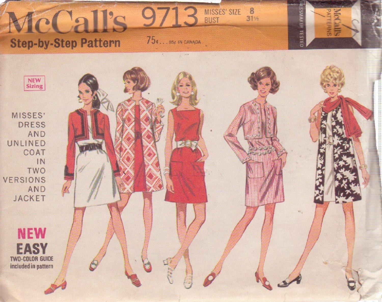McCALL'S PATTERN 9713 MISSES' DRESS, COAT 2 VERISONS, JACKET SIZE 8 UNCUT