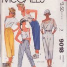 McCALL'S PATTERN 9018 MISSES' PANTS IN 4 VARIATIONS SIZE 10 UNCUT