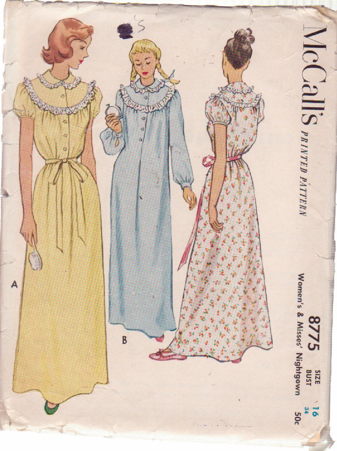 McCALL'S VINTAGE PATTERN 8775 MISSES' NIGHTGOWN IN 2 VARIATIONS SIZE 16