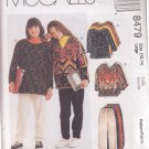 McCALL'S PATTERN 8479 GIRLS' TOPS IN 2 VARIATIONS, PULL ON PANTS  SIZES 12/14