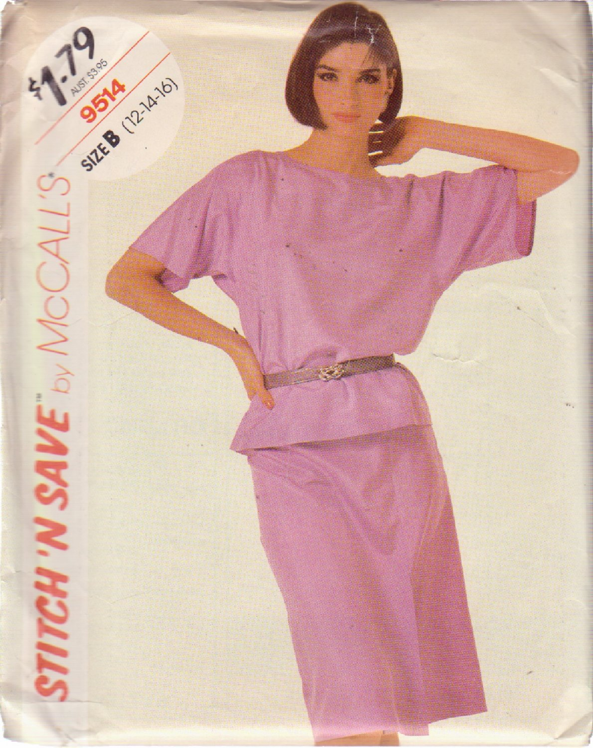 McCALL'S VINTAGE PATTERN 9514 MISSES' TOP AND SKIRT SIZE 12/14/16 UNCUT