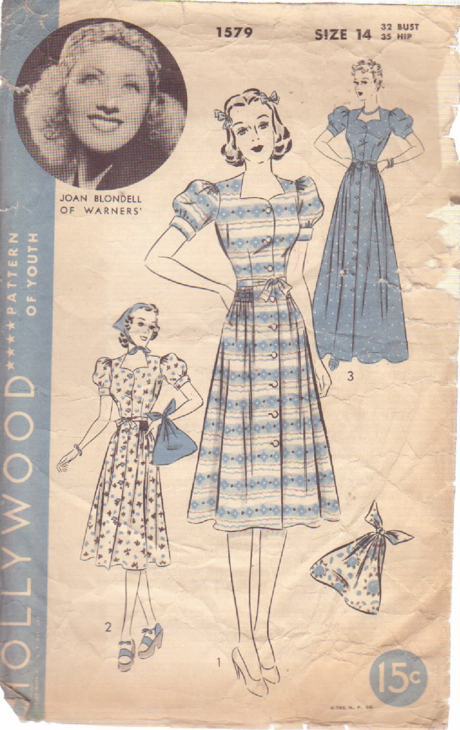 HOLLYWOOD PATTERN 1579 1 PC DIRNDL FROCK OR BEACH OR HOUSECOAT, BAG SIZE 14 JOAN BLONDELL