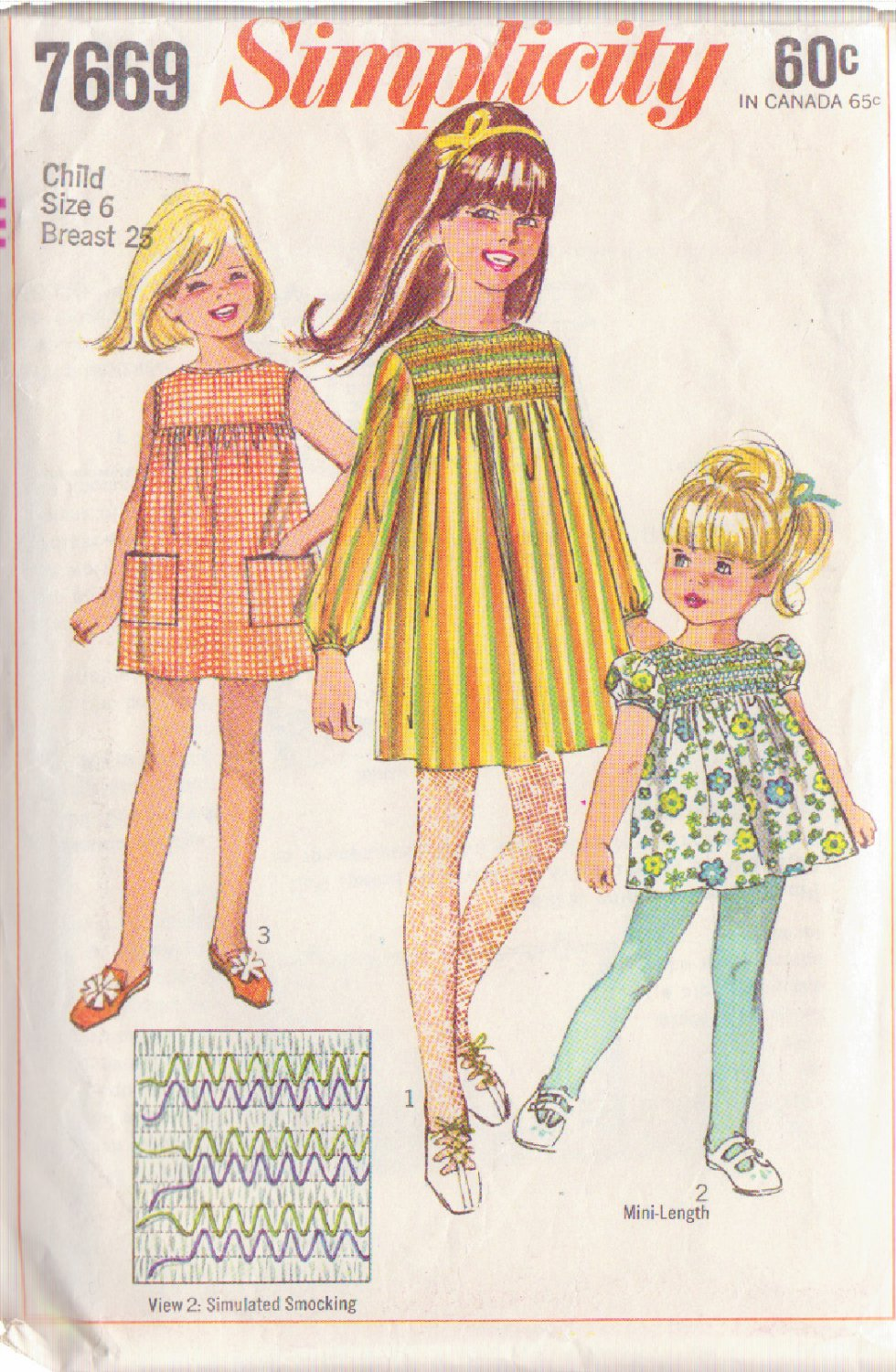 SIMPLICITY VINTAGE PATTERN 7669 GIRLS' DRESS IN 3 VARIATIONS SIMULATED SMOCKING SIZE 6