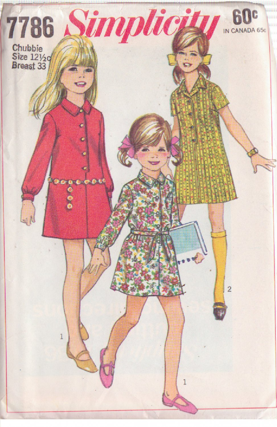 SIMPLICITY PATTERN 7786 GIRLS' SHIRT DRESS IN 2 VARIATIONS CHUBBIE SIZE 12 1/2