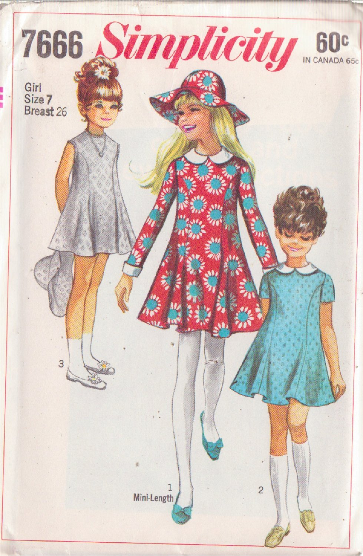 SIMPLICITY PATTERN 7666 GIRLS' DRESS IN 3 VARIATIONS, COLLAR, CUFFS, HAT SIZE 7