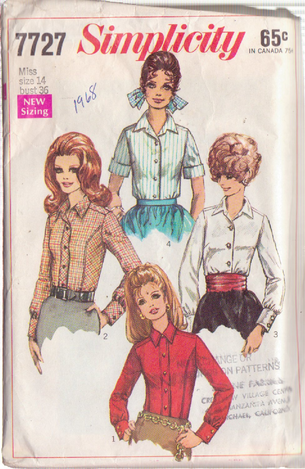 SIMPLICITY PATTERN 7727 MISSES' SHIRT IN 4 VARIATIONS SIZE 14