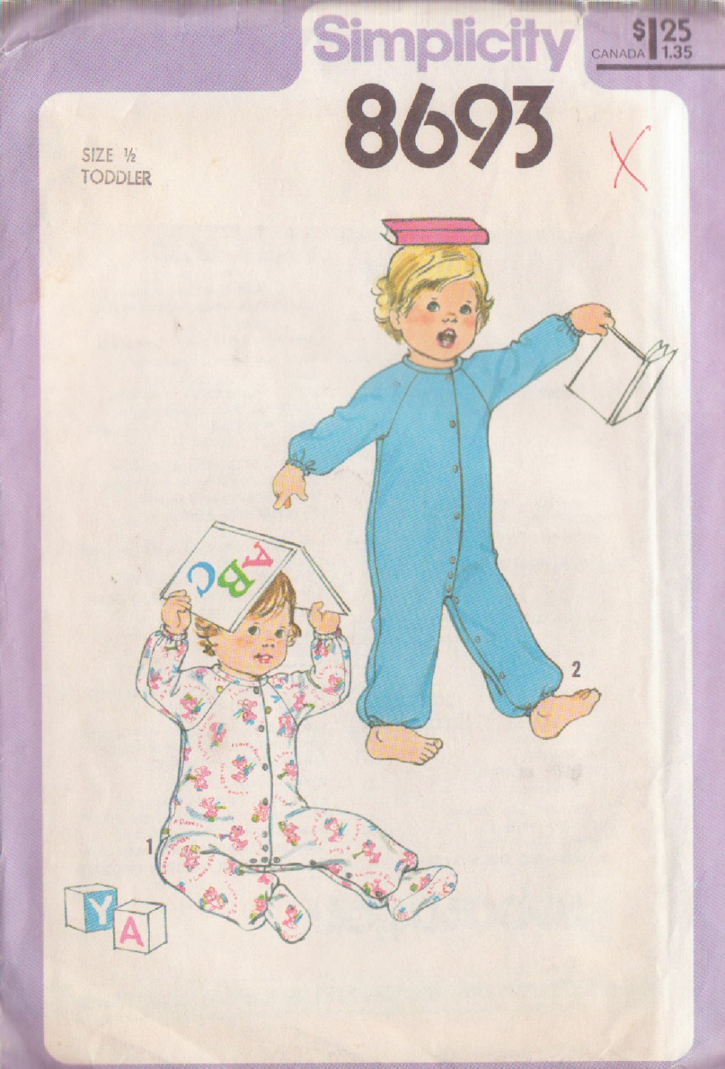 SIMPLICITY 8693 VINTAGE PATTERN TODDLERS' SLEEPER IN 2 VARIATIONS SIZE ONE HALF