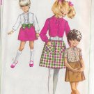 SIMPLICITY PATTERN 7837 GIRLS' SHIRT-BLOUSE AND SKIRT IN VARIATIONS SIZE 8