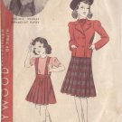 HOLLYWOOD PATTERN 1634 GIRL'S JACKET, SKIRT WITH SUSPENDER TOP SIZE 10 YEARS