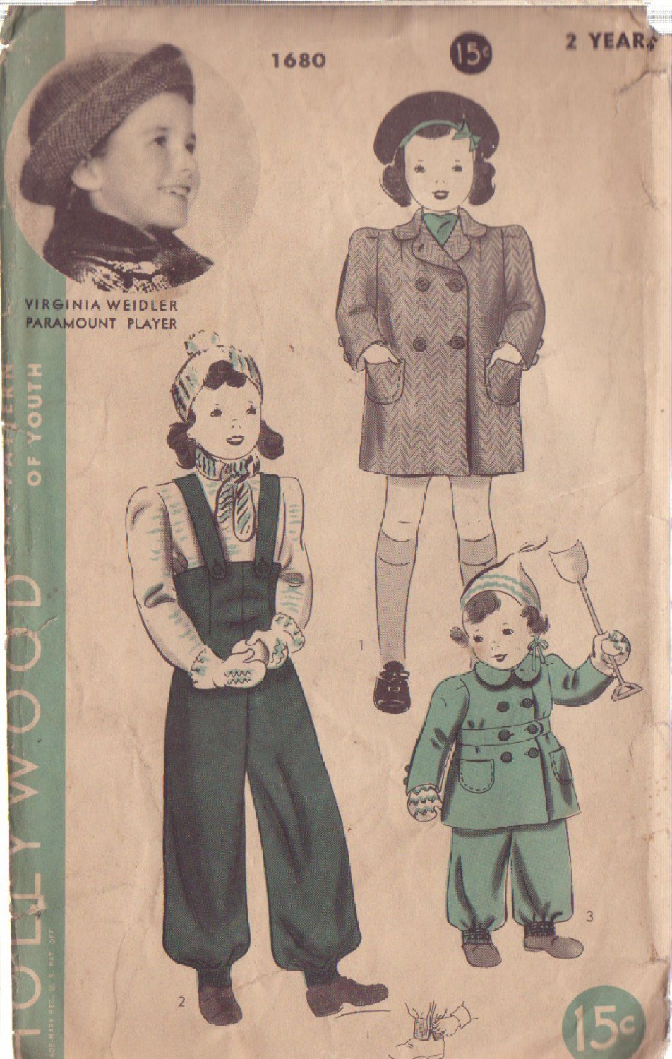 HOLLYWOOD PATTERN 1680 GIRL�S COAT AND SNOW PANTS SIZE 2 YEARS VIRGINIA WEIDLER
