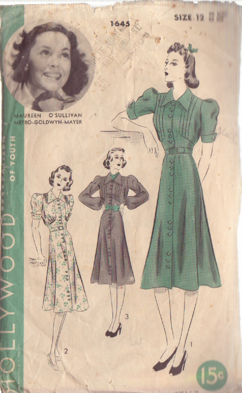 HOLLYWOOD PATTERN 1645, 1930/40'S MISSES' 1 PC FROCK IN 3 VARIATIONS SIZE 12