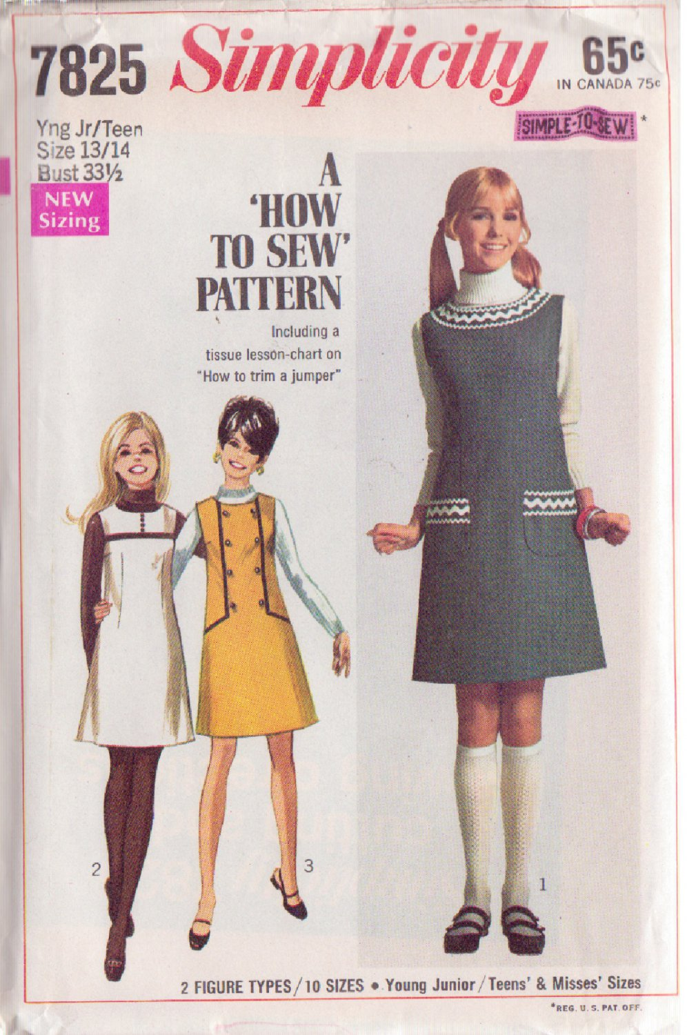 SIMPLICITY PATTERN 7825 YNG JR/TEEN JUMPER IN 3 VARIATIONS SIZE 13/14 UNCUT