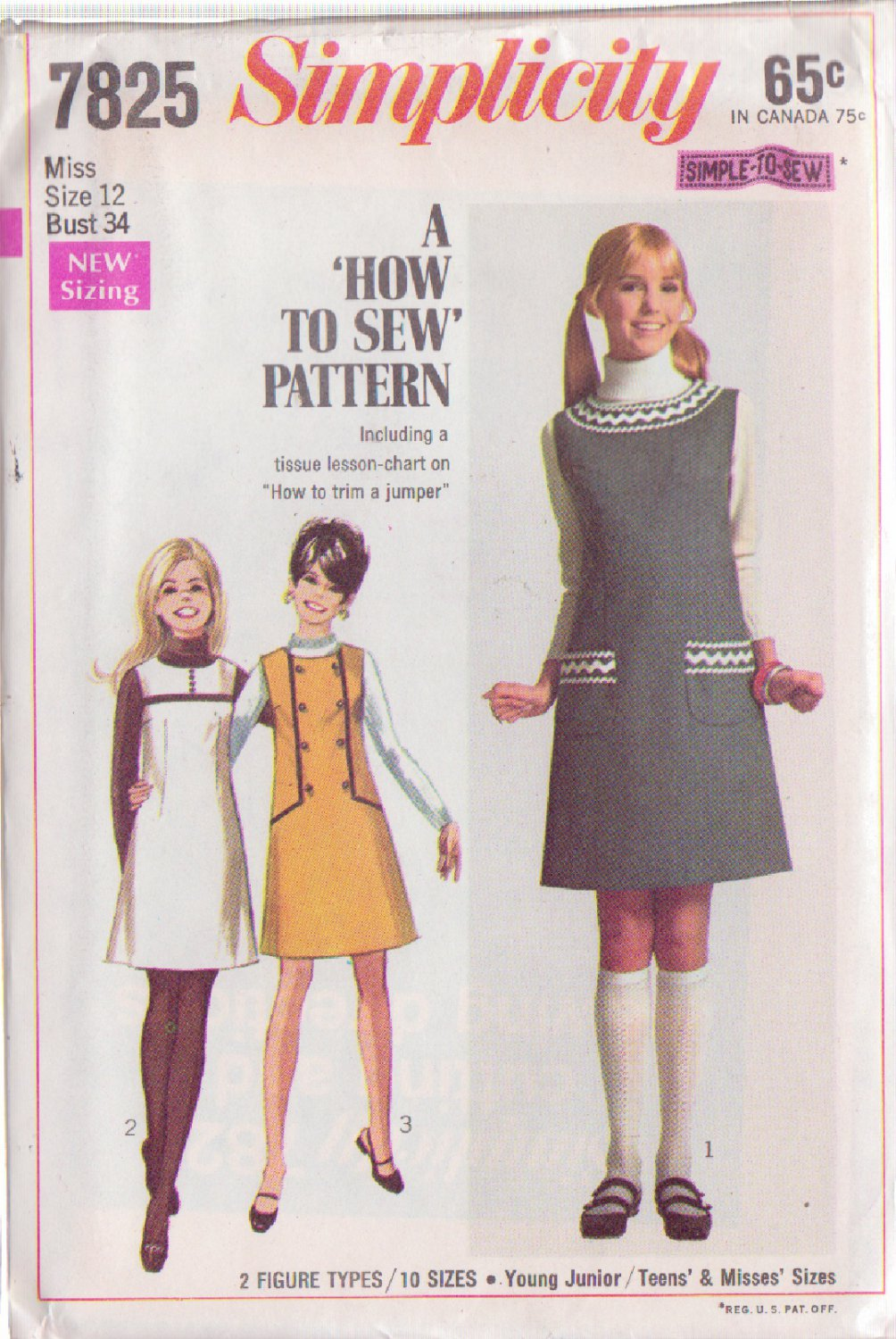 SIMPLICITY PATTERN 7825 MISSES' JUMPER IN 3 VARIATIONS SIZE 14 UNCUT