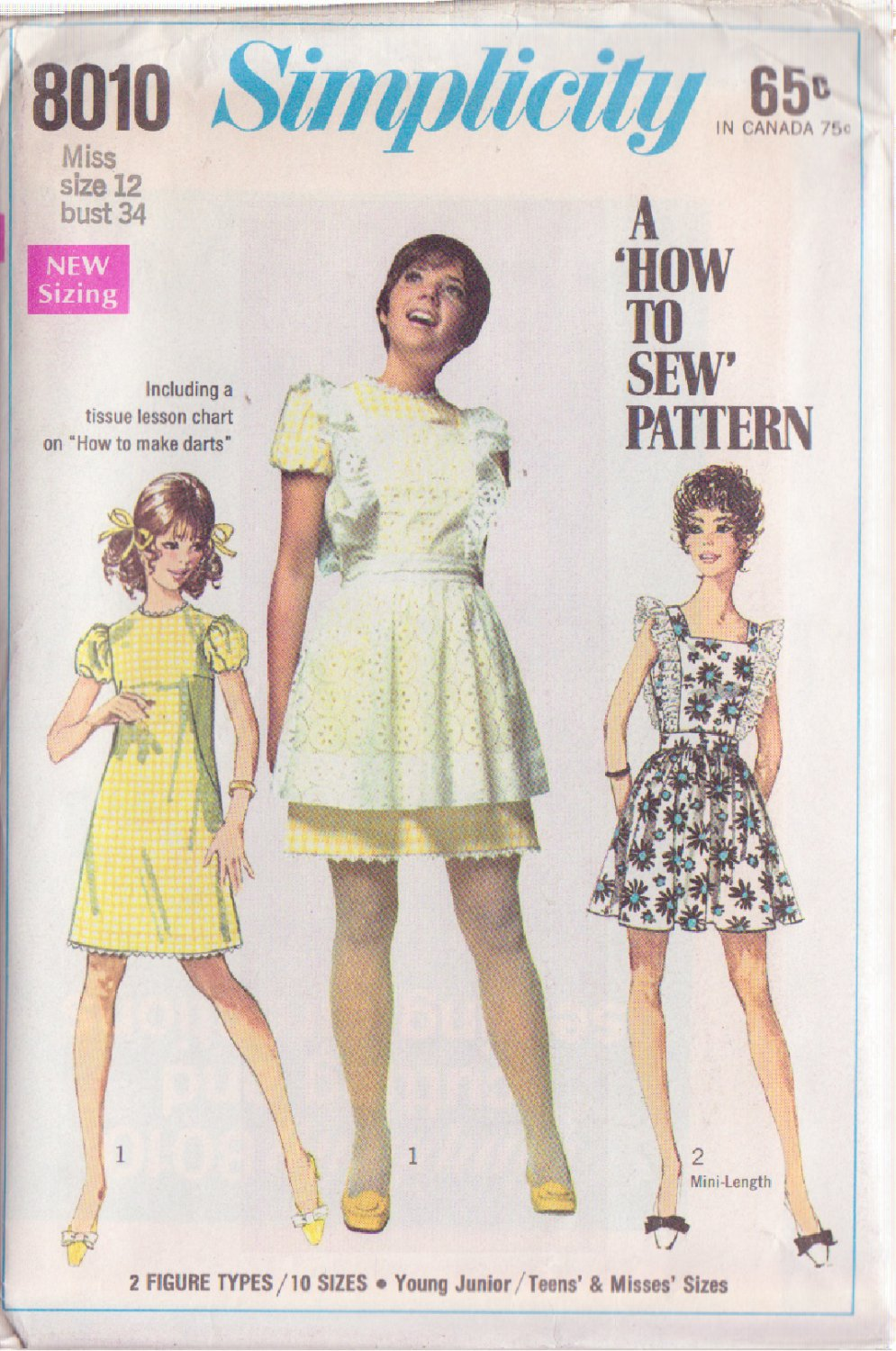 SIMPLICITY PATTERN 8010 MISSES' DRESS, MINI PINAFORE SIZE 12 UNCUT