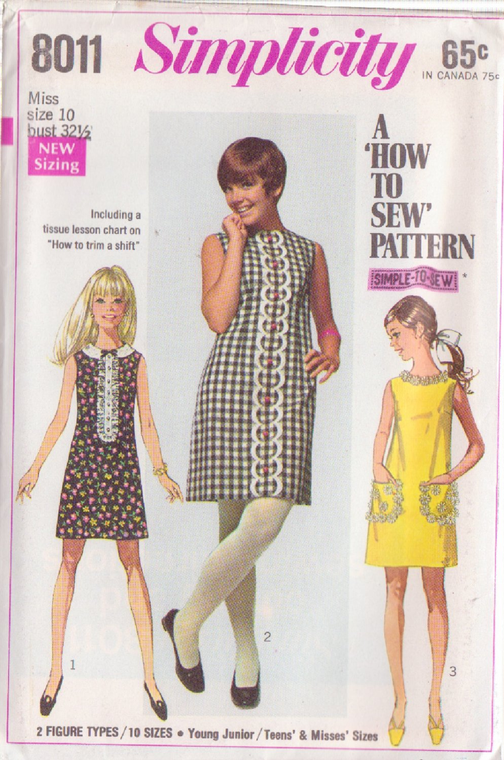 SIMPLICITY PATTERN 8011 MISSES' DRESS IN 3 VARIATIONS SIZE 10 UNCUT