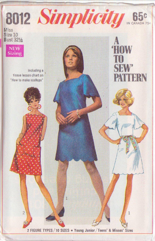 SIMPLICITY PATTERN 8012 MISSES' DRESS IN 2 VARIATIONS SIZE 10 UNCUT