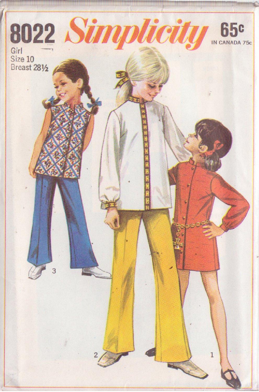 SIMPLICITY 8022 PATTERN CHILD'S MINI DRESS, TOP, BELL BOTTOM PANTS SIZE 10
