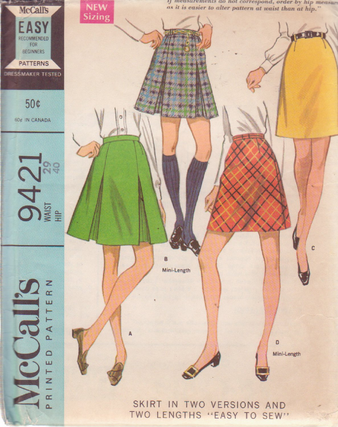 McCALL'S VINTAGE PATTERN 9421 MISSES' SKIRT IN 4 VARIATIONS SIZE 29 WAIST