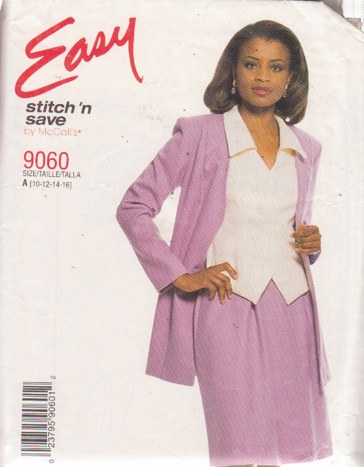 McCALL'S PATTERN 9060 MISSES' PULL ON SKIRT, JACKET AND TOP SIZES 10/12/14/16