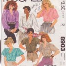 McCALL'S PATTERN 8903 MISSES' BLOUSES IN 6 VARIATIONS SIZE 10