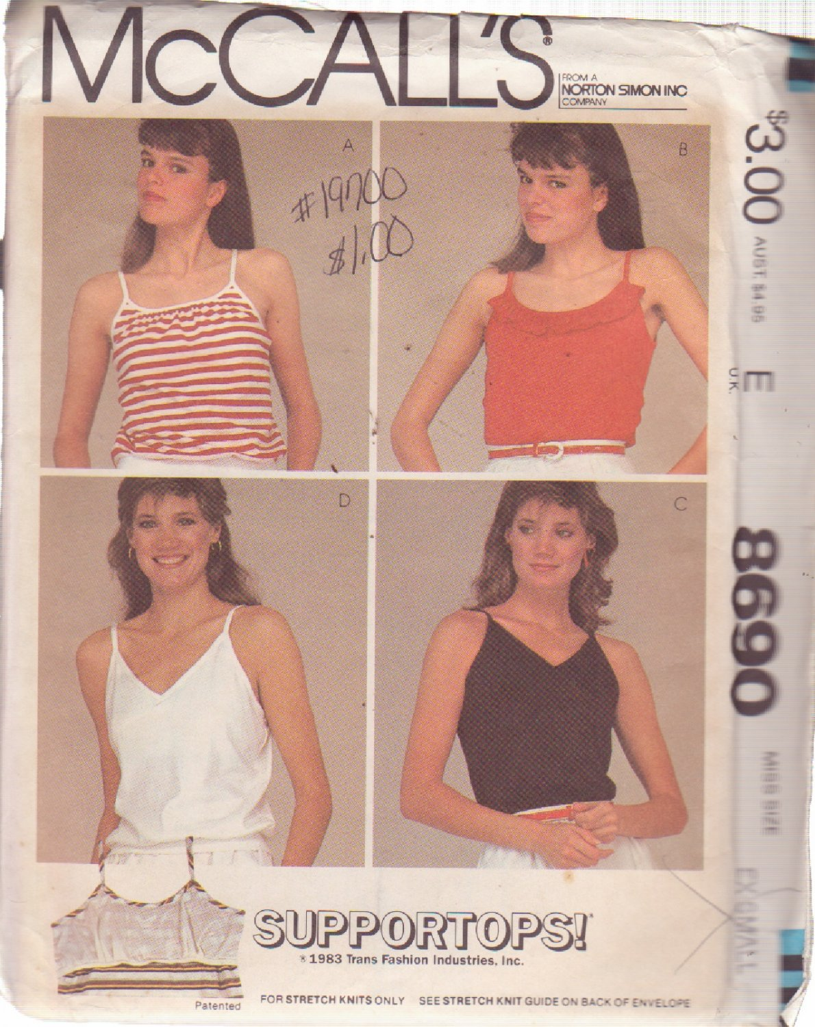 McCALL'S PATTERN 8690 MISSES' SUPPORT TOPS IN 4 VARIATIONS SIZE XSMALL 6/8