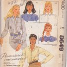 McCALL'S PATTERN 8649 MISSES' BLOUSE WITH 4 COLLAR VARIATIONS SIZE 10