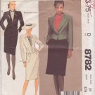 McCALL'S PATTERN 8782 MISSES' JACKET, SKIRT IN 2 VARIATIONS SIZE 10