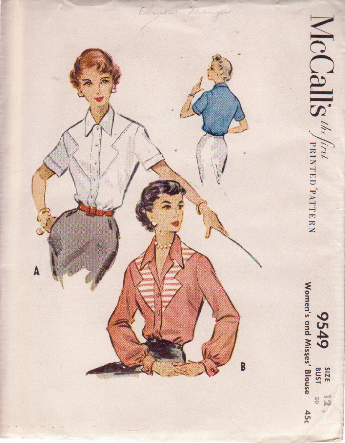 McCALL'S VINTAGE 1953 PATTERN 9549 MISSES' BLOUSE IN 2 VARIATIONS SIZE 8